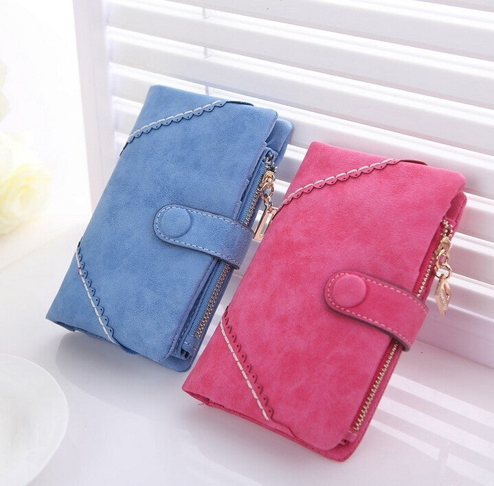 New fashion retro Korean women wallet frosted snaps multifunction solid Clutch lady purse card zipper pu leather