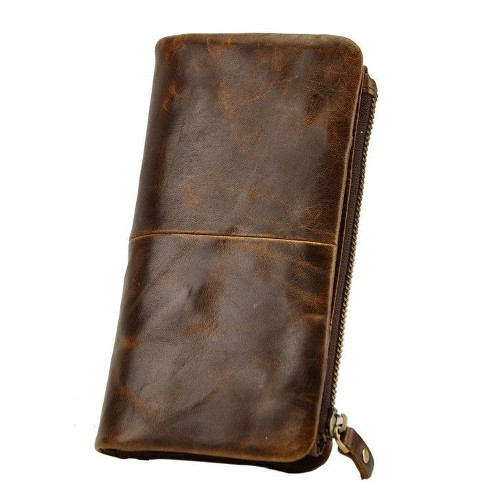 Men Wallet Genuine Leather first layer wax leather retro high-capacity multi-card long purse coin pocket