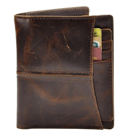 2015 New Fashion men retro short design 100% genuine leather wallet purse card holders cowhide wallets photo