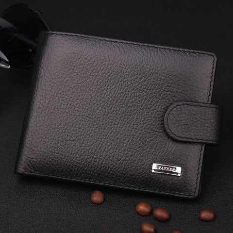 2015 New men genuine leather header layer cowhide soft purse wallets coin pocket black coffee short wallets