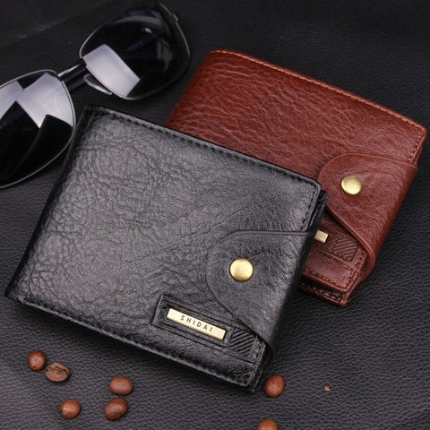 2015 new men short wallet buckle genuine leather male hot purse card coin pocket hasp fashion wbg01314