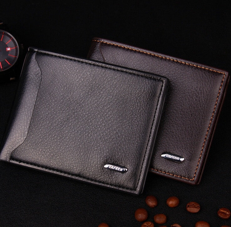 New men short wallet leather cross-section simplicity soft surface embossed men's purse card holder wbg01315