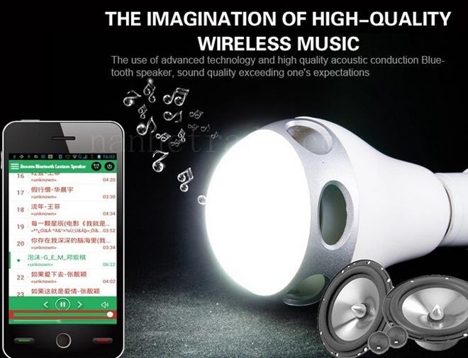 LED Light speaker Bluetooth App Control Music Playing Audio 3W Speaker + Changing LED Color Bulb Light For iPhone For Android