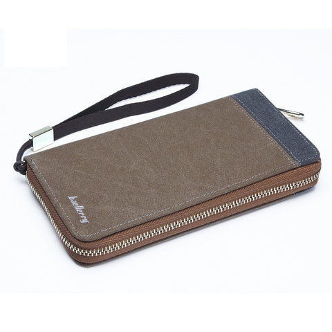 2015 New Korean retro men canvas zipper wallet clutch bag phone package coin pocket card holder long purse