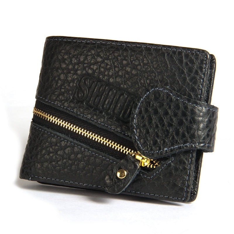 Genuine cross section short paragraph fashion men wallet embossed leather wallets purse card zipper wholesale triple buckle (Color: Black)
