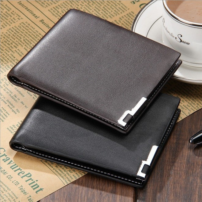 Simple genuine leather wallet men purse card wallets wholesale coin pocket holder black coffee 2015 new fashion