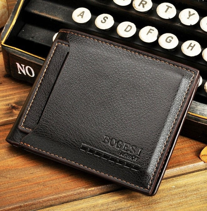 2015 New Korean male purse Pu leather men wallet wholesale trade short paragraph wallets card coin pocket holder