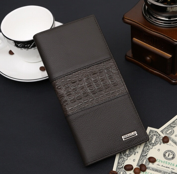 2015 new spot wholesale custom long stitching genuine leather men wallet crocodile pattern coin pocket card holder