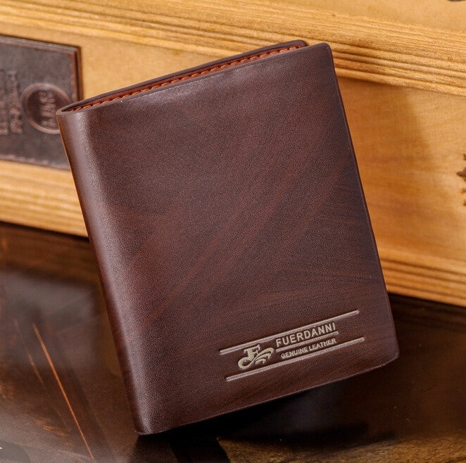 Europe and America 2015 New Fashion Men Wallets Card Holder Coin Pocket Man Purses Genuine Leather (Color: Brown)