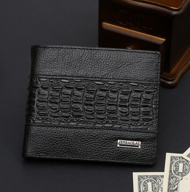 Splicing crocodile leather 2015 new fashion men wallet coin pocket card holder man purse genuine short wallets