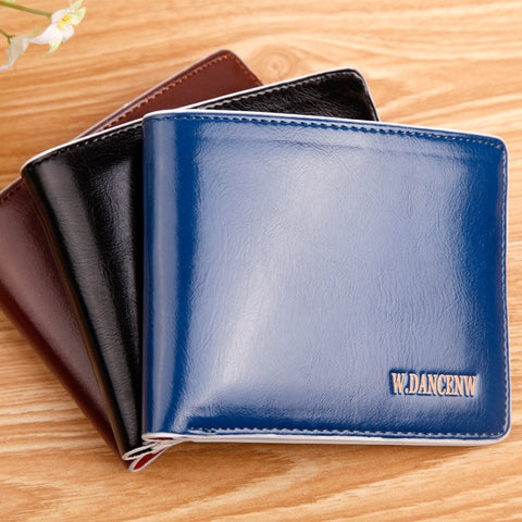 2015 New men short paragraph Korean oil wax purses wallet card package wholesale custom manufacturers supply
