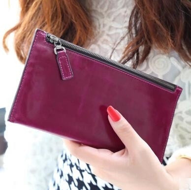 2015 Women Wallets new top retro fashion trend zipper oil wax high quality genuine leather slim lady long wallet purse card