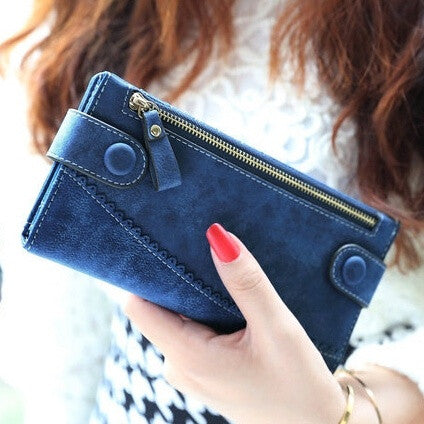 2015 Women Wallets new fashion hot mix color retro buckle lace frosted smiley lady long wallet purse card Wholesale