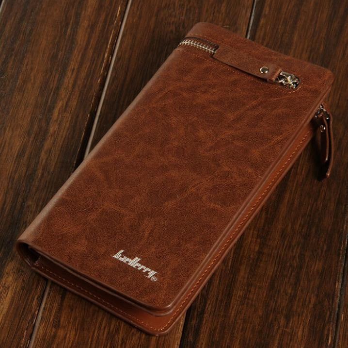 Men Wallets 2015 new fashion business casual leather men long section handbag purse zipper phone card clutch (Color: Brown)