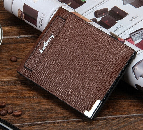 2015 Men Wallets Casual man retro fashion trend two fold purse multifunction card top soft surface cross pattern