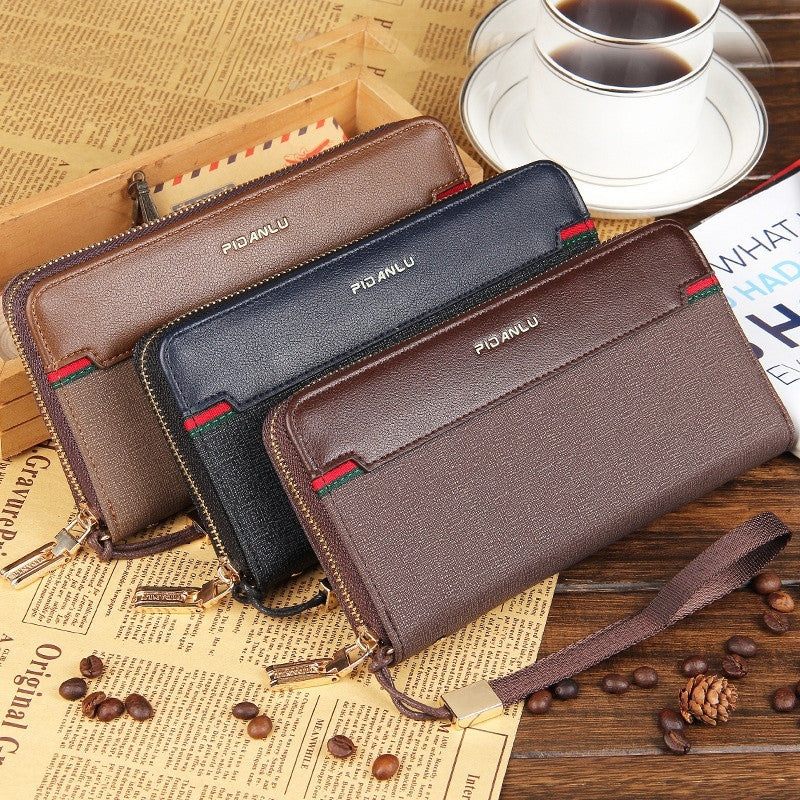 Men business casual multifunction wallet Zipper Clutch fight skin cell phone package long wallets card holder