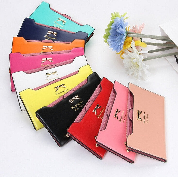 Women Wallets 2015 new fashion top original card-cute bow lady purse wholesale long wallet fashion hot mix color