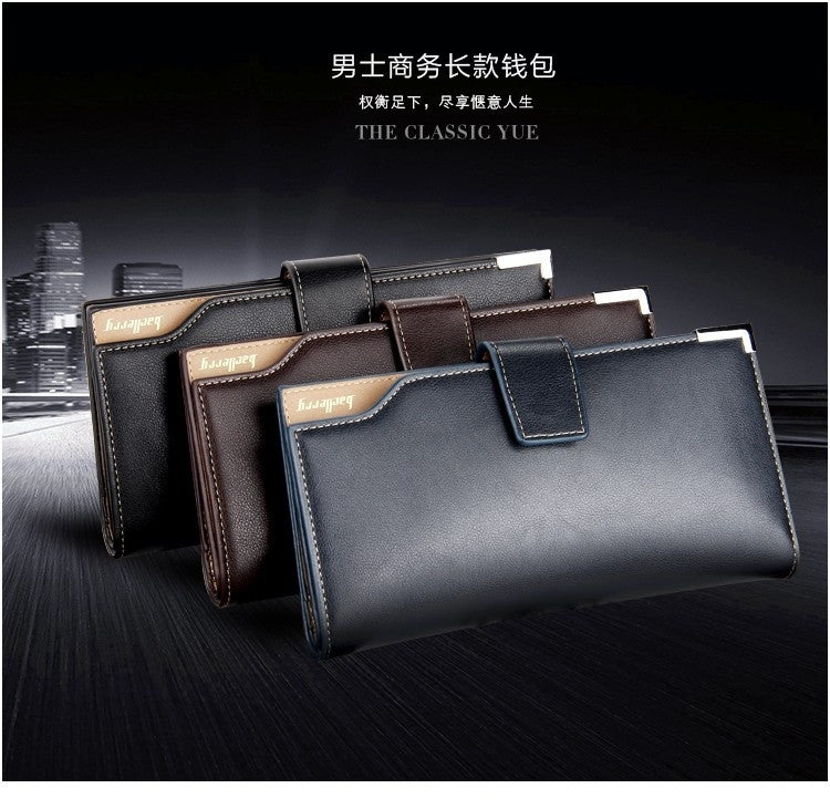 nw autumn Mens leather clutch wallet long section Korean casual hasp wallets card package purses