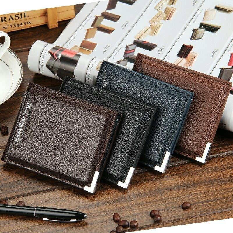 Business leather men short wallets new fashion card holder pocket Leisure man purses