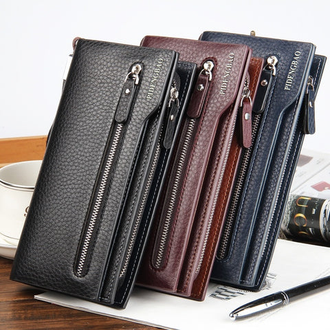 2015 New fashion hot Men's wallet embossed Large Zip Clutch bag has strap mobile phone card purse holder holder pocket