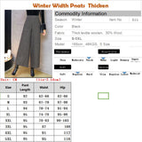 5XL Woolen Width Ankle Length Pants thicken Women Pants Winter