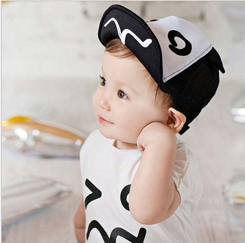 6-18 Months Summer printed black & white baby cap flap hat Baseball Cap