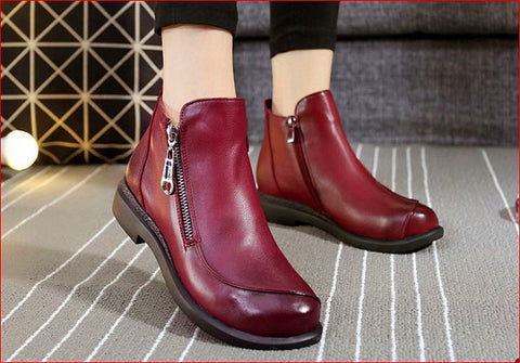 Women Boot High Quality 100% Cowhide Leather Lady Marten Shoes