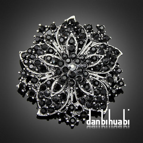 7 colors' Vintage Style Black Rhinestone Crystal Diamante Party Brooch pins for women