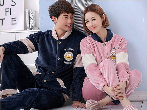 New fashion high quality winter coral fleece thickening  loungewear and nightwear warm soft skin comfortable lovers  pajamas