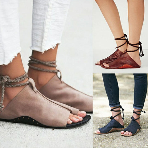 Plus New Open Toe Flats Lady's Sandals Ankle Strip Soft Leather