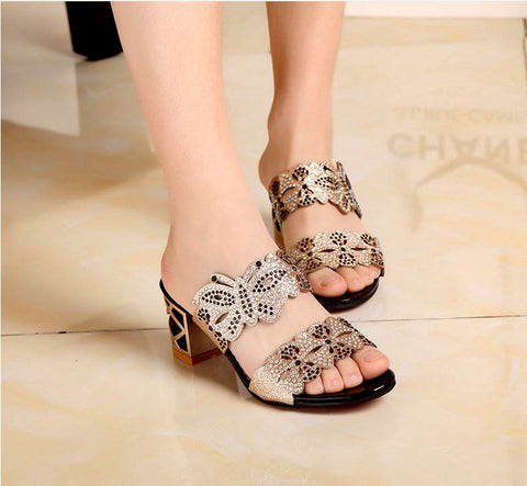 Summer new Women sandals crystal flip flops lady slipper