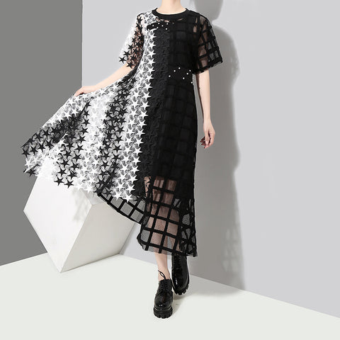 2018 New Stars Checkered Stitching Irregular Dresses Short Sleeve