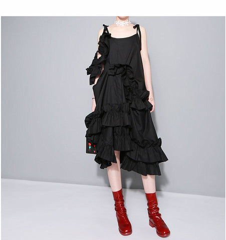 2018 New Irregular Multilevel Ruffle Sleeveless Strap Dresses