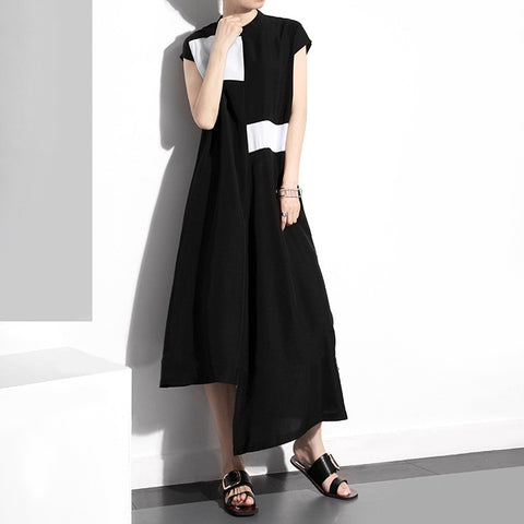2018 Fashion Standing Collar Dresses Irregular skirt