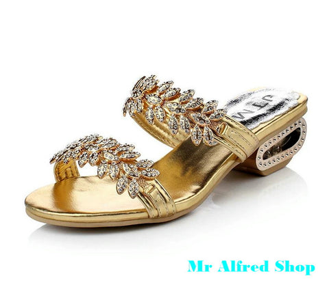 Summer new super bright crystal metal heel women sandals flip flops lady slipper