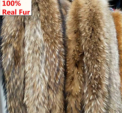 100% Genuine raccoon fur collar hood winter scaves 70-80cm