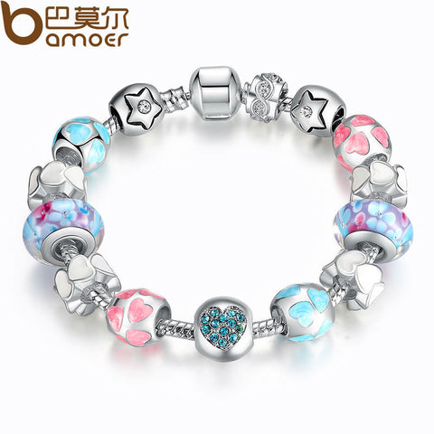 "925 Silver Heart Start Crystals ""LOVE"" Colorful Girl Murano Beads Bracelet for New Year Gift PA1871"