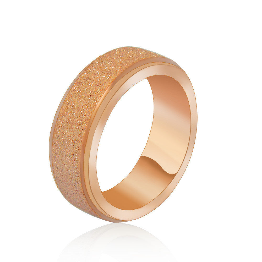 All match titanium jewelry fashion personality rose gold matte rotating ring fine jewerly SA493