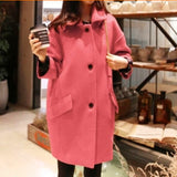 New Long Wool Coat Women Loose Plus Size Long Sleeve Winter Wool Jacket
