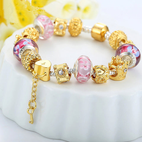 DIY 18K Gold Plated European Silver Charms Bracelets For Women With Murano Beads
