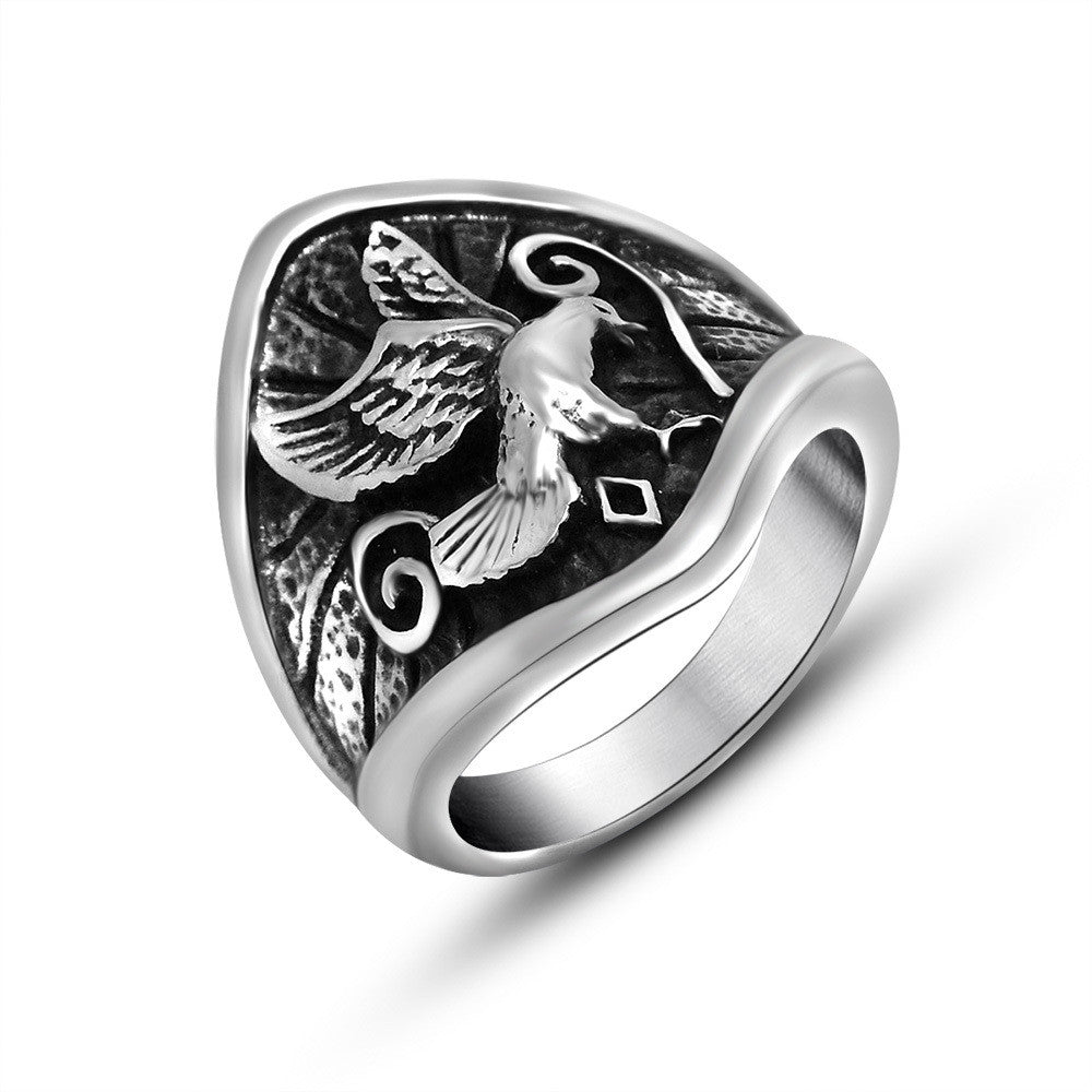 Beautifully embossed eagle poised to take off the ring dance necessary SA509