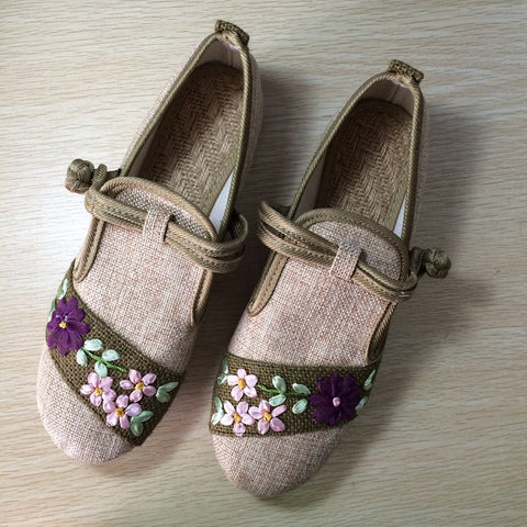 2016 Spring Retro Style Shoes Woman,Women Old Peking Flats Chinese Flower Embroidery Canvas Shoes