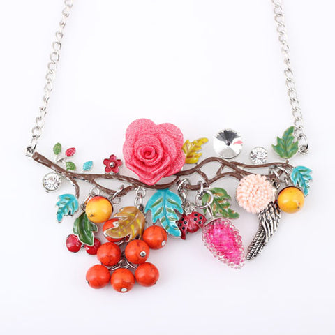Bonsny Statement Bird Flower Choker Necklace Enamel Alloy Collar Pendant 2016 Fashion New Jewelry For Women Charm Accessories