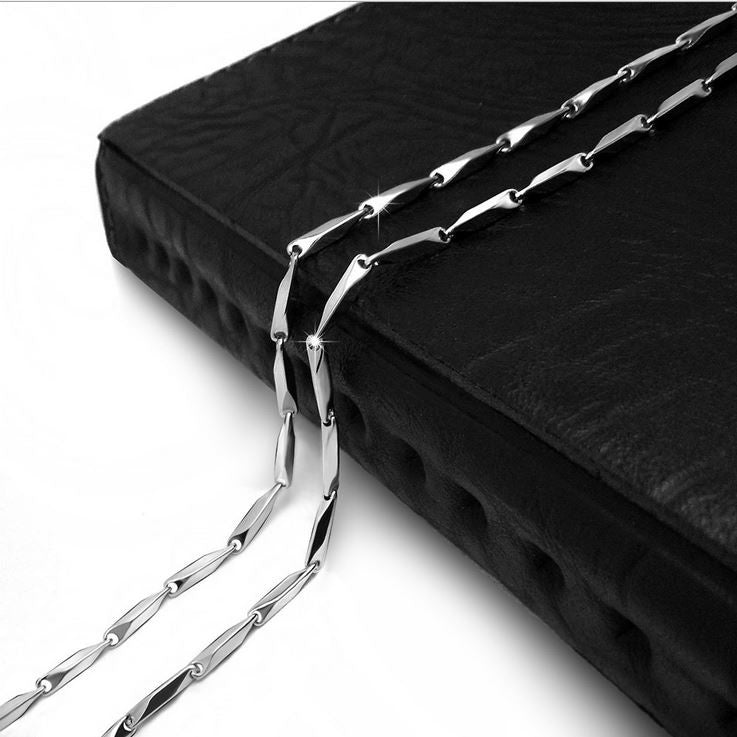"2/3MM 22"" High Quality 316L Silver Stainless Steel Rhomboid Chain Accessories CE362"