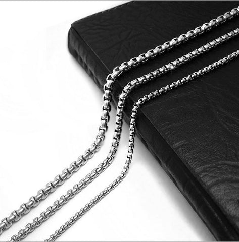 "2.5/3.5/4.5MM 18-36"" Titanium Silver Stainless Steel Chain Accessories CE401"