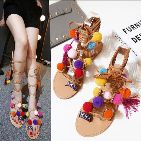 New Greece Leather Sandals Woman Gladiator Clip-toe Tie Up Poms Fringed Lady Flats Sandals Shoes