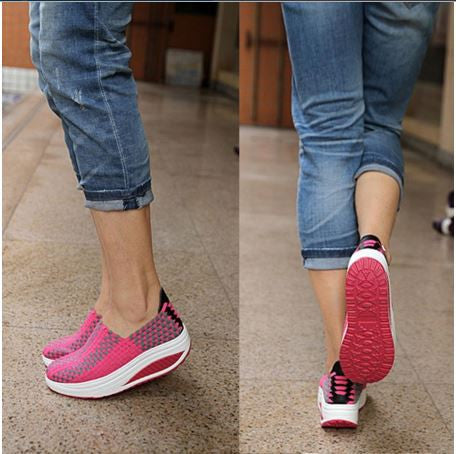 Summer wobbled design Unisex shoes knitted Stretch breathable casual wedges shoes