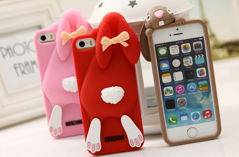 Brand new 3D cartoon cute buck teeth rabbit iPhone case soft silicone phone cover