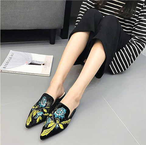 Embroidery Mules Flats Women Slippers Loafer