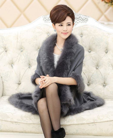12 Colors New Long Loose Luxury Overcoat Women Cashmere Fox Fur Feel Pashmina Cape Rabbit Fur Shawl Winter Warm